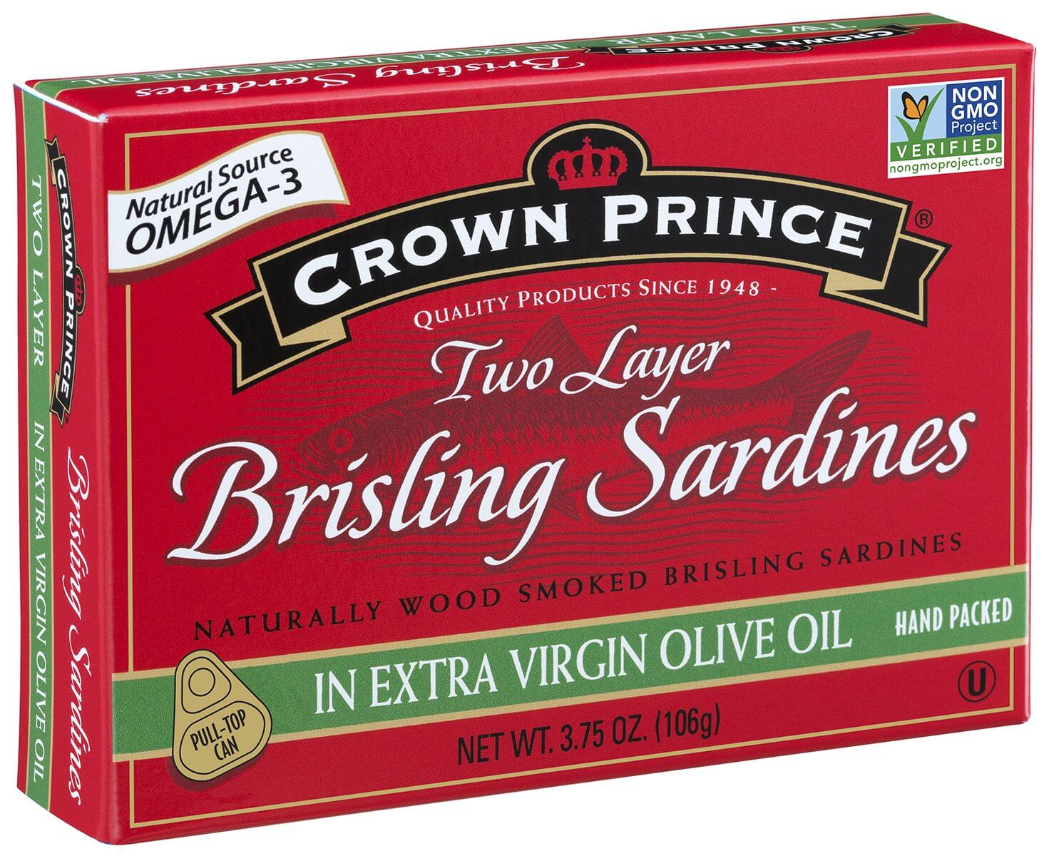 Crown Prince Two Layer Brisling Sardines in Extra Virgin Olive Oil